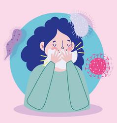 Covid 19 prevention symptoms cough cover mouth vector