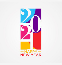 Creative concept 2021 happy new year pile style vector