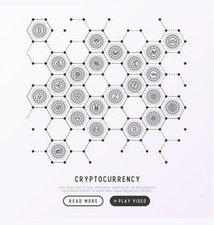 Cryptocurrency concept in honeycombs vector