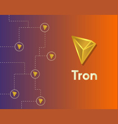 Cryptocurrency tron blockchain technology world vector