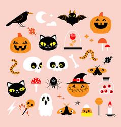 cute cartoon halloween design elements vector image