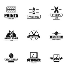Decorator logo set simple style vector