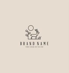 Deer monoline logo design vector