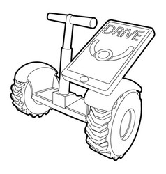 Drive on segway icon outline style vector