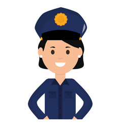 Female police officer avatar character vector