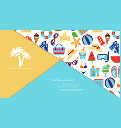 flat beach vacation elements composition vector image