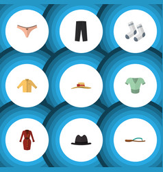 flat icon garment set of elegant headgear panama vector image