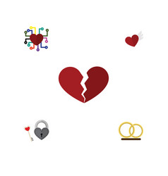 flat icon heart set of wings emotion ring and vector image