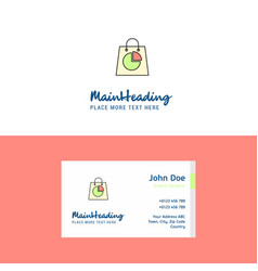 Flat shopping bag logo and visiting card template vector