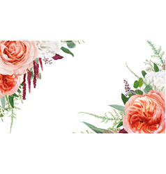 Floral watercolor bouquet frame border design vector