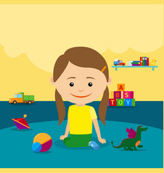 Girl sitting on floor with toys vector