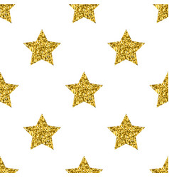 Golden glitter stars white seamless pattern vector