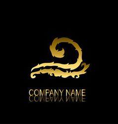 golden wave symbol vector image