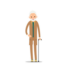 Group older people three aged people stand vector