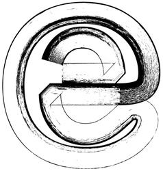 Grunge Font letter e vector