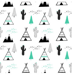 hand drawing camp elements seamless pattern vector image
