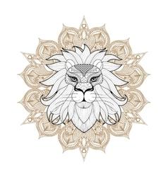 Hand drawn entangle ornamental lion on mehendi vector