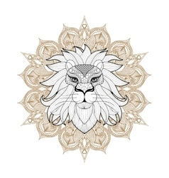 Hand drawn zentangle Ornamental Lion on mehendi vector