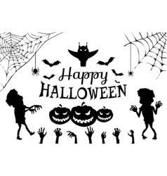 Happy halloween with title vector
