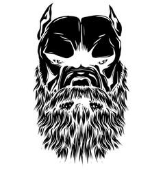 Head pitbull with beard vector