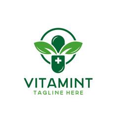 herbal medicine or supplement logo vector image