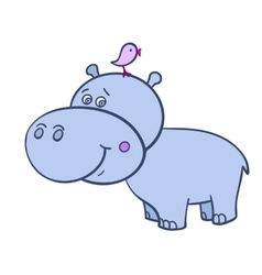 Hippo with a bird-01 vector