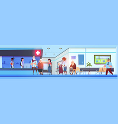 hospital hall interior patients and doctors in vector image