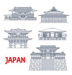 Japan temples japanese pagoda buildings vector