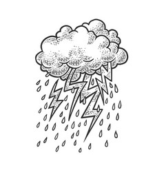 lightning from clouds sketch vector image