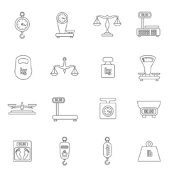 linear scales and weight icons set vector image
