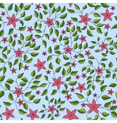 Little flowers with leaves pattern colorful vector image