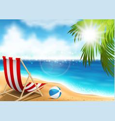 lounge chair on seaside vector image