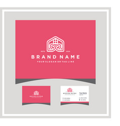 Love home logo design with a business card vector