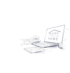 man hands using laptop working from home concept vector image