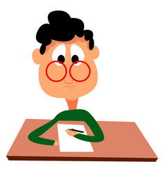 Man taking test on white background vector