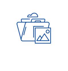 Media archive line icon concept media archive vector