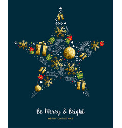 merry christmas gold low poly decoration card vector image
