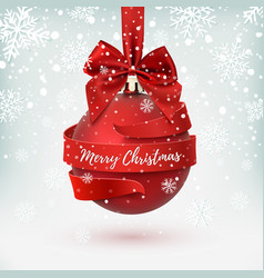 Merry christmas greeting card decoration with red vector