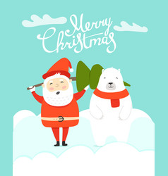 merry christmas greeting card with santa vector image