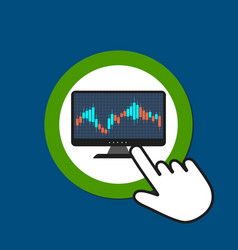 monitor with candlestick graph icon forex trading vector image