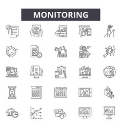 Monitoring line icons signs set linear vector