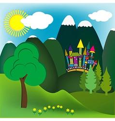 Mountain doodle landscape vector
