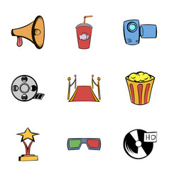 movie icons set cartoon style vector image