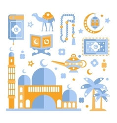 Muslim Religious Holiday Symbols Set vector image