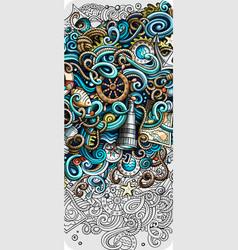 nautical hand drawn doodle banner cartoon vector image