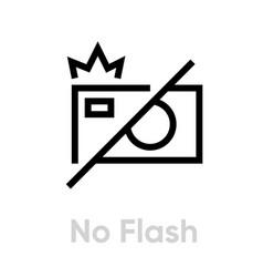 no flash icon editable outline vector image
