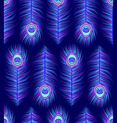 Pattern with colorful peacock feathers vector