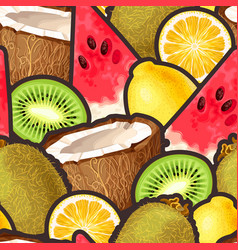 pattern with seamless the exotic friut vector image