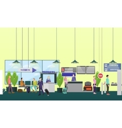 People in airport flat set vector image