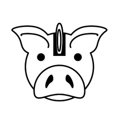 piggy savings with coin isolated icon vector image